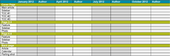 Single publication editorial calendar