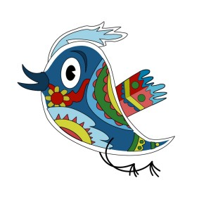 colorful twitter bird