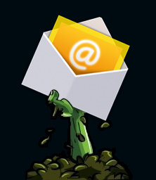 zombie hand holding email envelope