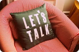 lets talk pillow on chair