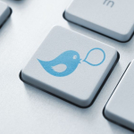 Twitter bird on keyboard