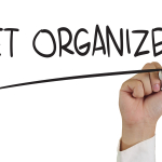 """Get organized"" written in market"