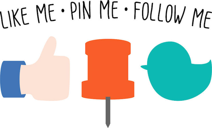 Like, Pin, Follow Icons