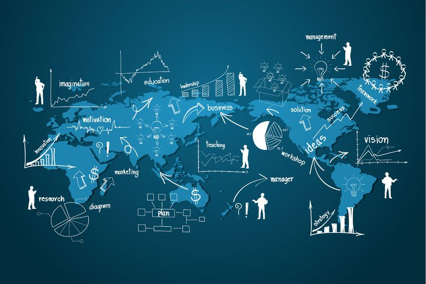 Modern global business economy, with elements of infographics and graph creative drawing business strategy plan concept idea