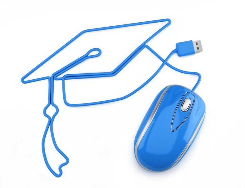 Online education, or online degree concept Blue mouse