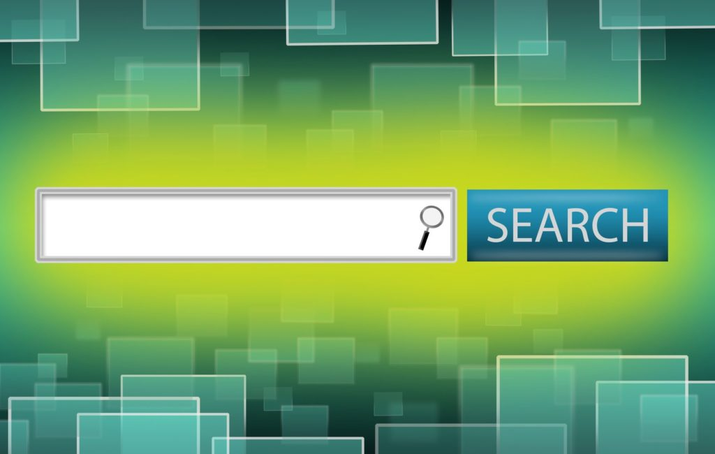 Search Engine Bar Concept with Squares as Data and Webpages
