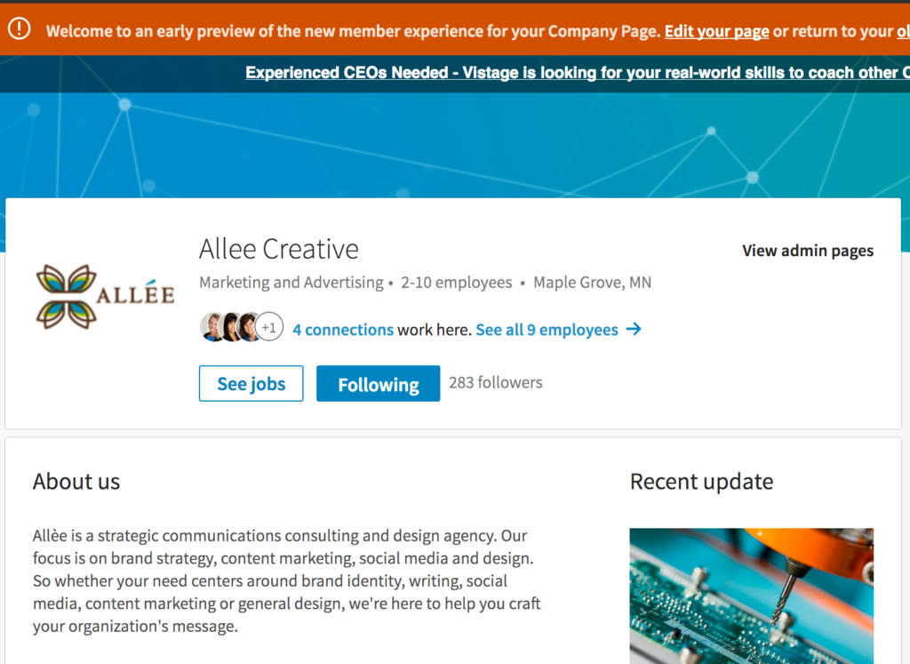 LinkedIn new company page layout