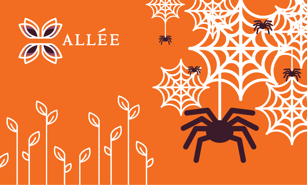 Allee Creative logo with spiders and web