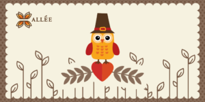 Thanksgiving themed vector image with the Allee creative logo